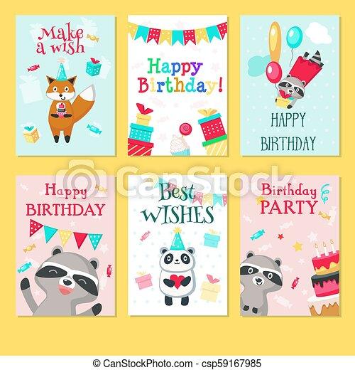 Fine Happy Birthday Card Vector Template Set Happy Birthday Greeting Personalised Birthday Cards Paralily Jamesorg