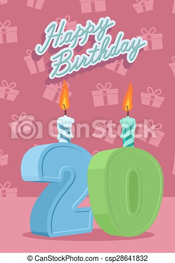 Happy Birthday Card With 20th
