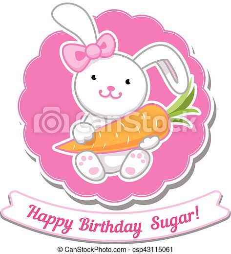 Happy Birthday Card With Amazing Cartoon Bunny Girl Vector