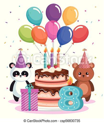 Happy Birthday Card With Bear Panda And Teddy Vector Illustration