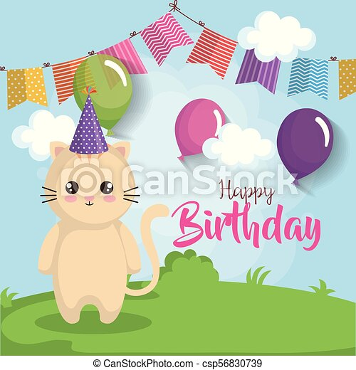 Happy Birthday Card With Cat Vector Illustration Design