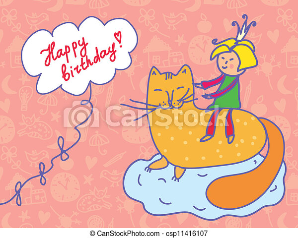 Happy birthday card with child and cat funny vector clipart search happy birthday card with child and cat funny bookmarktalkfo Choice Image