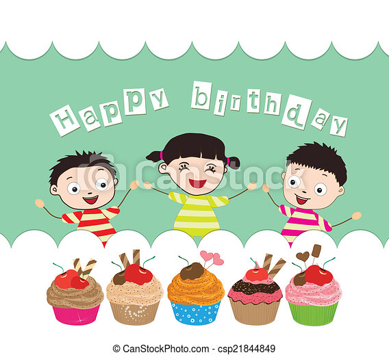 Happy Birthday Card With Cupcakes Happy Birthday Card With Kids And