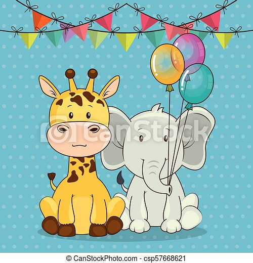 Admirable Happy Birthday Card With Cute Animals Vector Illustration Design Funny Birthday Cards Online Overcheapnameinfo