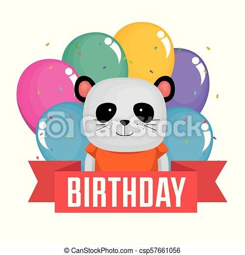 Happy Birthday Card With Cute Bear Panda Vector Illustration Design