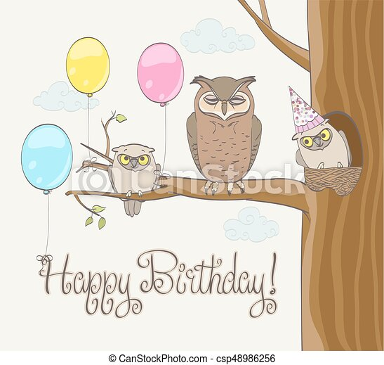 Happy Birthday Card With Cute Owl Family Balloons