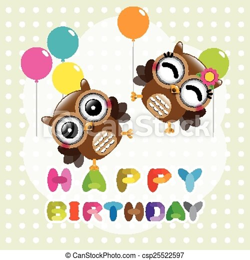Happy Birthday Card With Cute Owls Vector Illustration