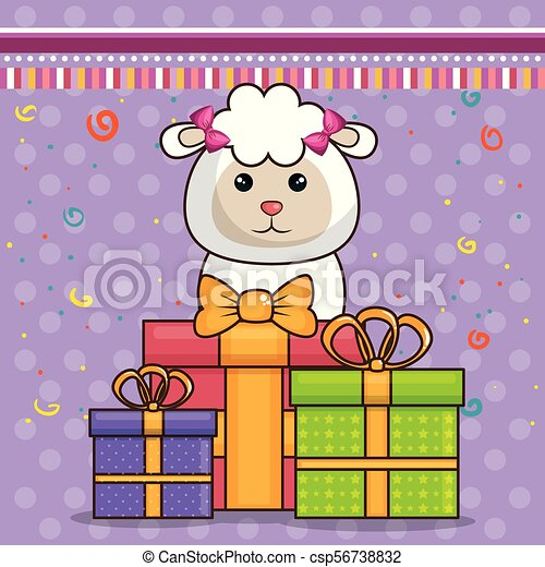 Happy Birthday Card With Cute Sheep Vector Illustration Design