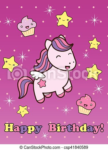 Happy Birthday Card With Cute Smiling Cartoon Horse Vector Illustration Childish Background Character