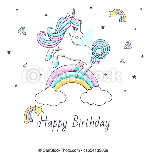 Happy Birthday Card With Cute Unicorn Vector