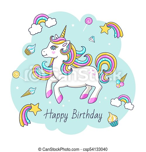 Happy Birthday Card With Cute Unicorn