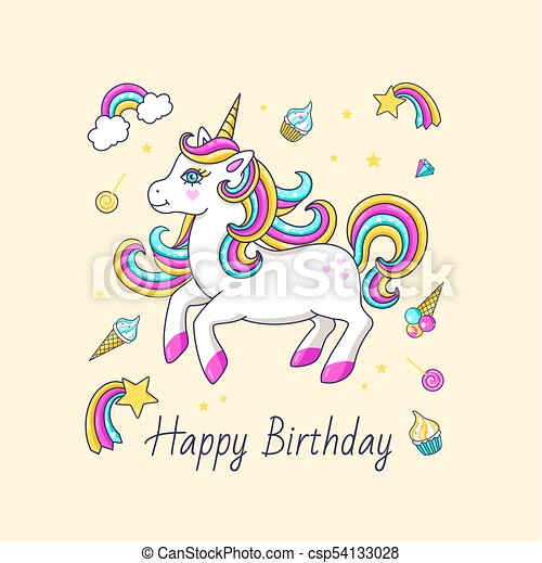 Happy Birthday Card With Cute Unicorn Vector Illustration