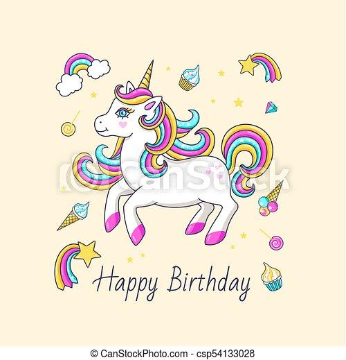 Happy birthday card with cute unicorn vector illustration vector happy birthday card with cute unicorn csp54133028 bookmarktalkfo Gallery