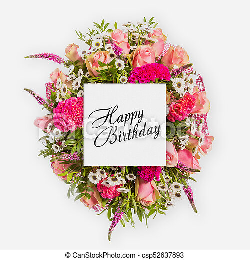 Happy Birthday Card With Flowers Flat Lay