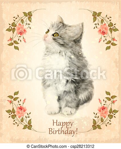 Happy Birthday Card With Fluffy Kitten Imitation Of Watercolor