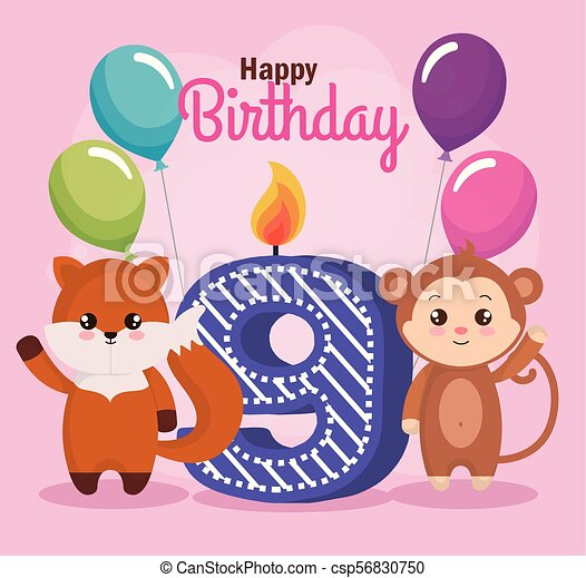 Happy Birthday Card With Fox And Monkey
