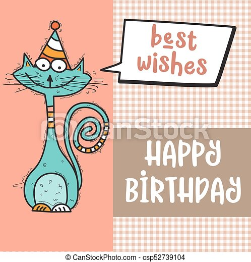 Happy Birthday Card With Funny Doodle Cat Happy Birthday Card With