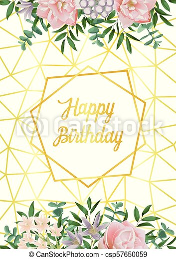 Happy Birthday Card With Geometric Frame Flowers And Greenery