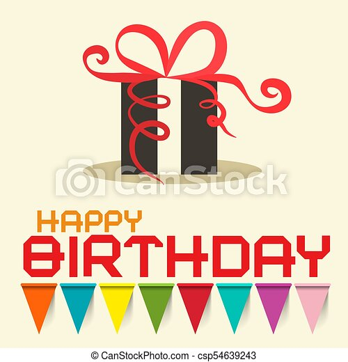 Happy Birthday Card with Gift Box. Vector Design. - csp54639243