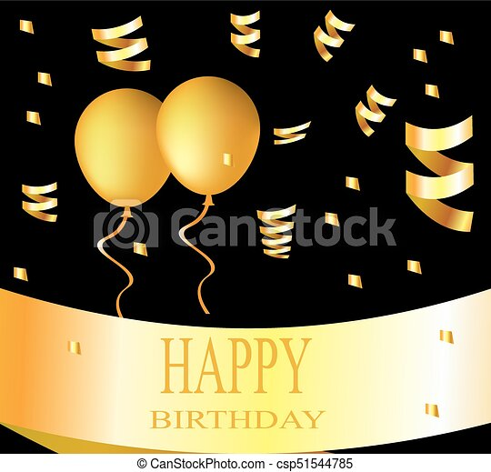 Happy Birthday Card With Golden Balloons On Black Background Vector