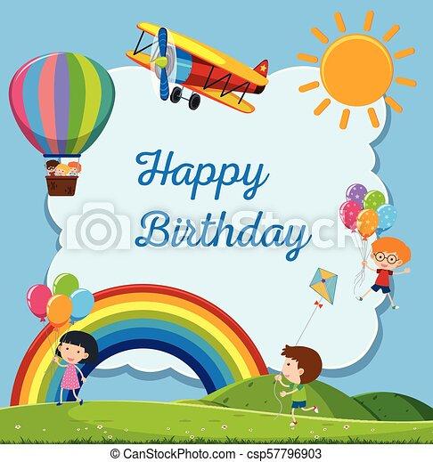 Happy Birthday Card With Happy Kids Illustration