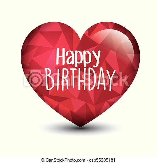 Happy Birthday Card With Heart Love