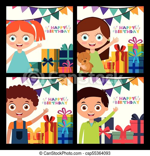 Happy Birthday Card With Kids Happy Birthday Card Set Cute Kids