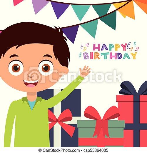 Happy Birthday Card With Kids Happy Birthday Greeting Card Boy With