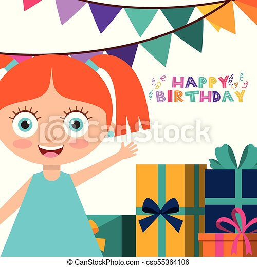 Happy Birthday Card With Kids Happy Birthday Greeting Card Girl