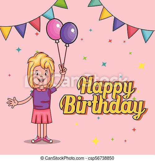 Happy Birthday Card With Little Girl Vector Illustration Design