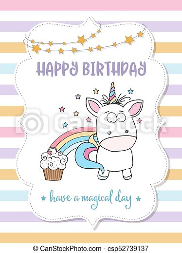 Happy birthday card with lovely baby unicorn vector format vectors happy birthday card with lovely baby unicorn csp52739137 bookmarktalkfo Choice Image