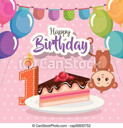 Happy Birthday Card With Monkey