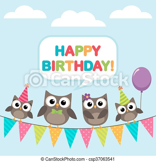 Happy Birthday Card With Owls Happy Birthday Vector Card With