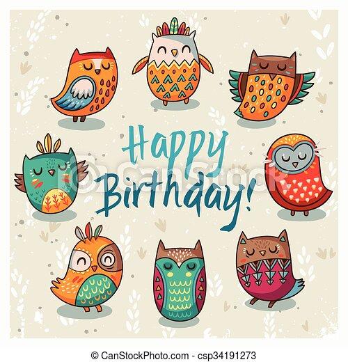 Happy Birthday Card With Owls Vector Illustration Owl Always Love