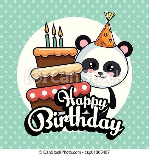 Astounding Happy Birthday Card With Panda Bear Vector Illustration Design Funny Birthday Cards Online Inifofree Goldxyz