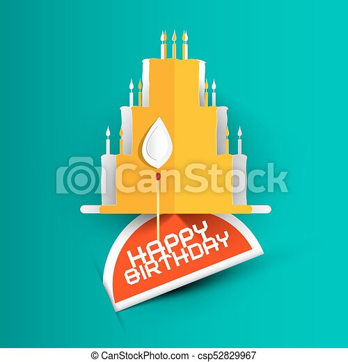 Happy Birthday Card with Paper Cut Cake on Blue Background. - csp52829967