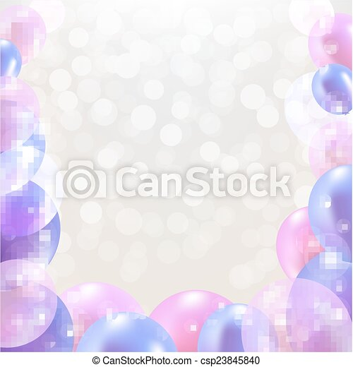 Happy Birthday Card With Pastel Balloons - csp23845840