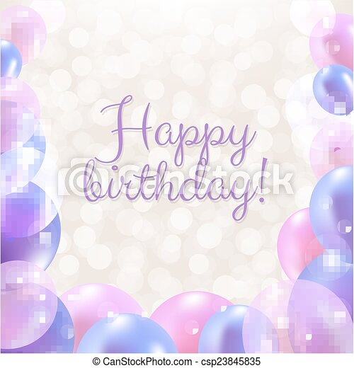 Happy Birthday Card With Pastel Balloons - csp23845835