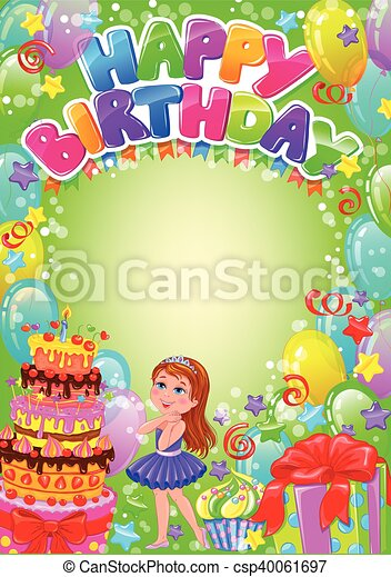 Happy birthday card with place for text - csp40061697