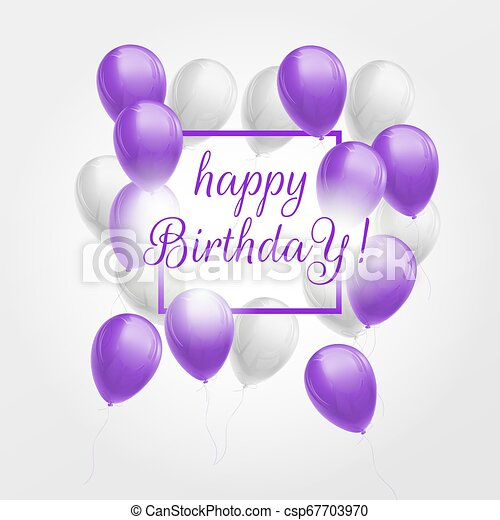 Happy Birthday Card With Violet And White Balloons