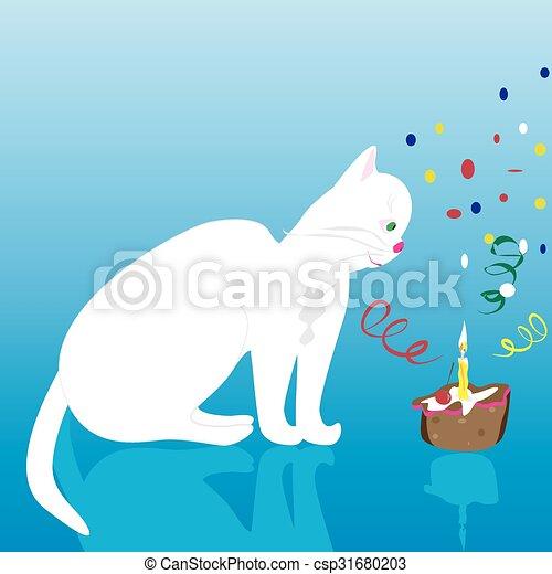 Happy Birthday Cat A Vector Illustration Of White