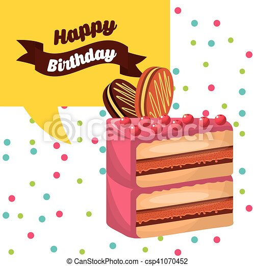 happy birthday celebration card with delicious cake - csp41070452