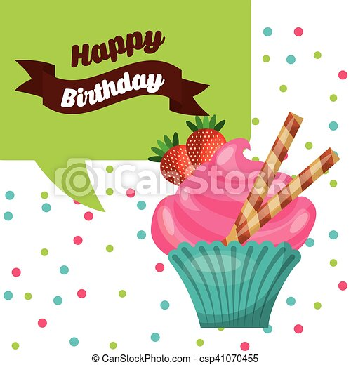 happy birthday celebration card with delicious cake - csp41070455