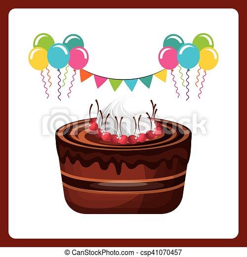 happy birthday celebration card with delicious cake - csp41070457