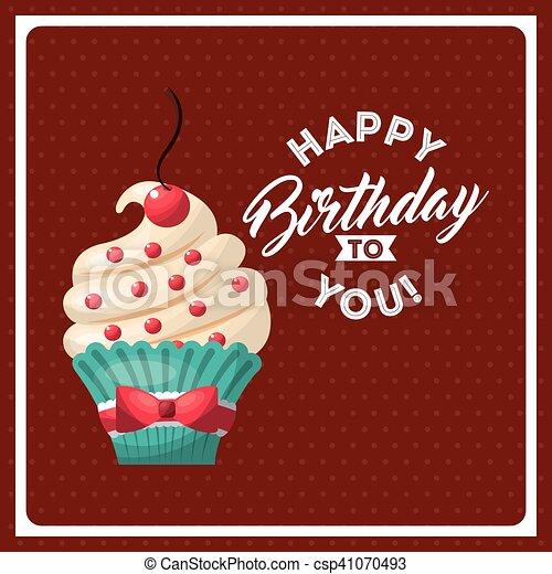 happy birthday celebration card with delicious cake - csp41070493
