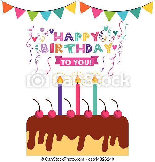 Happy birthday celebration card with cake vector eps vector