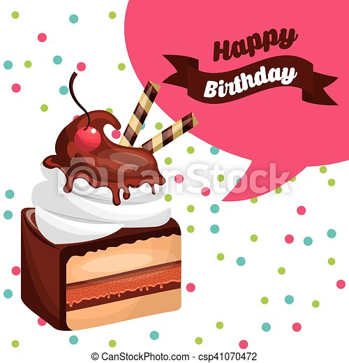 happy birthday celebration card with delicious cake - csp41070472