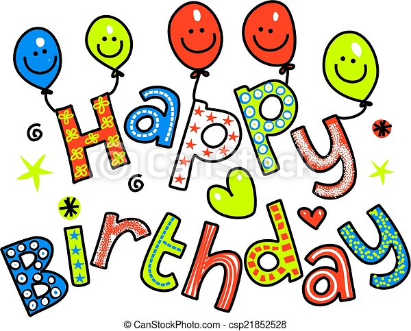 happy birthday celebration text hand drawn and colored whimsical rh canstockphoto com happy birthday celebration clip art 50th birthday celebration clip art