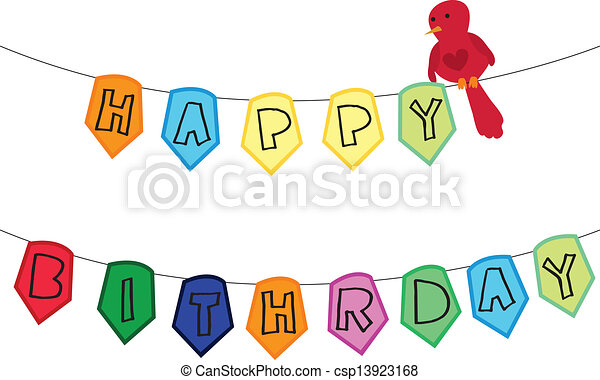 colourful happy birthday banner with a red bird