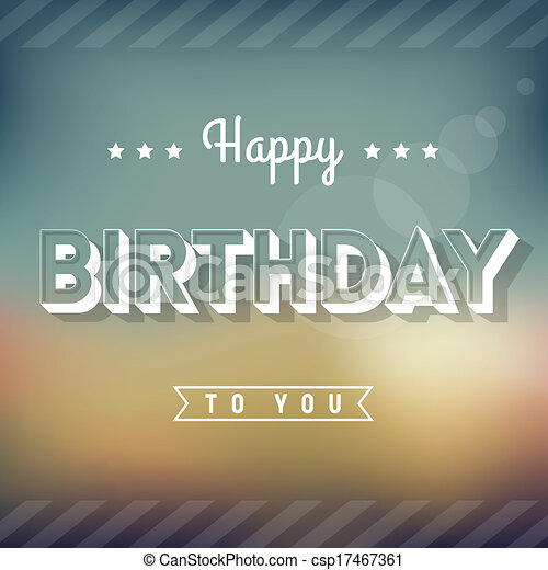 Happy Birthday Greeting Card Vintage Style Typography